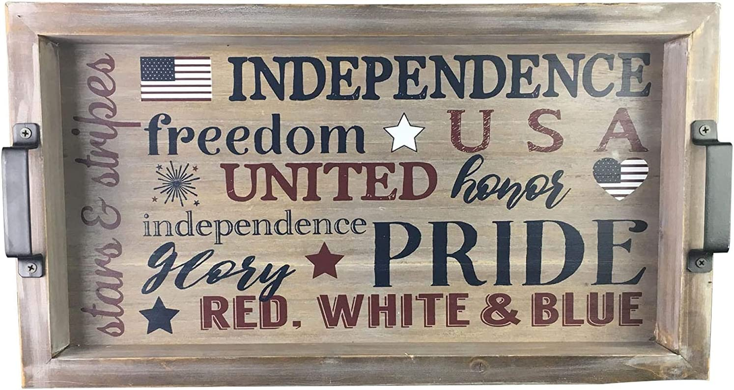 Wooden Serving Tray Memorial Day Fourth of July Decoration Patio Outdoor Furniture Decor Patriotic Decorations