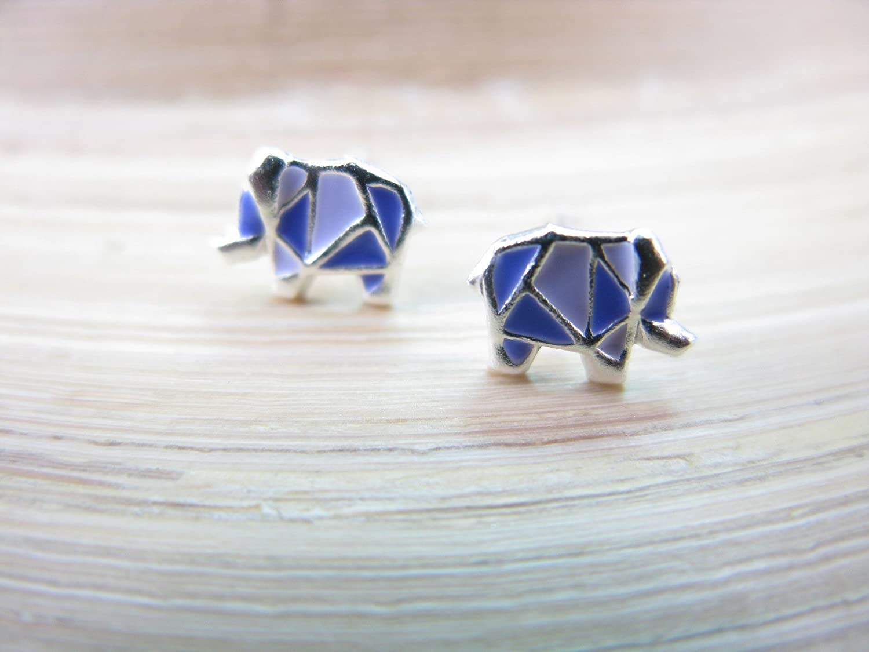FaithOwl Origami Elephant 925 Sterling Silver Stud Earrings