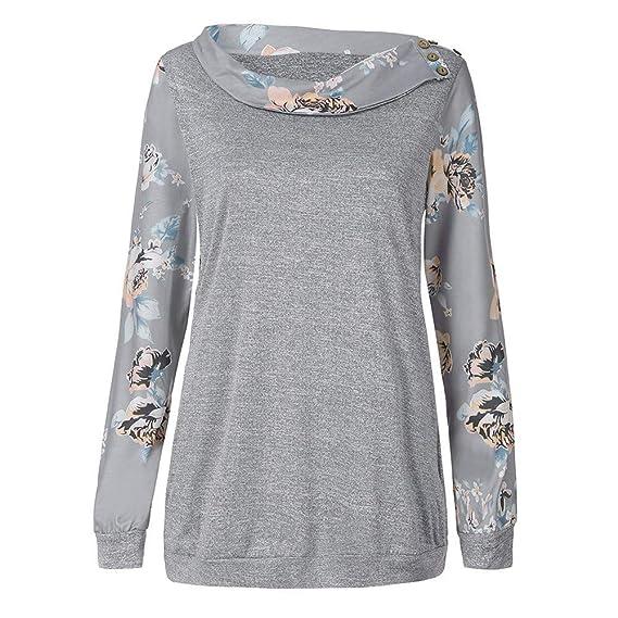 Yvelands Blusa de Estampado Floral para Mujer, Camisas de Manga Larga Ocasionales Mujer Sudaderas Pullover ¡Ofertas de liquidación!: