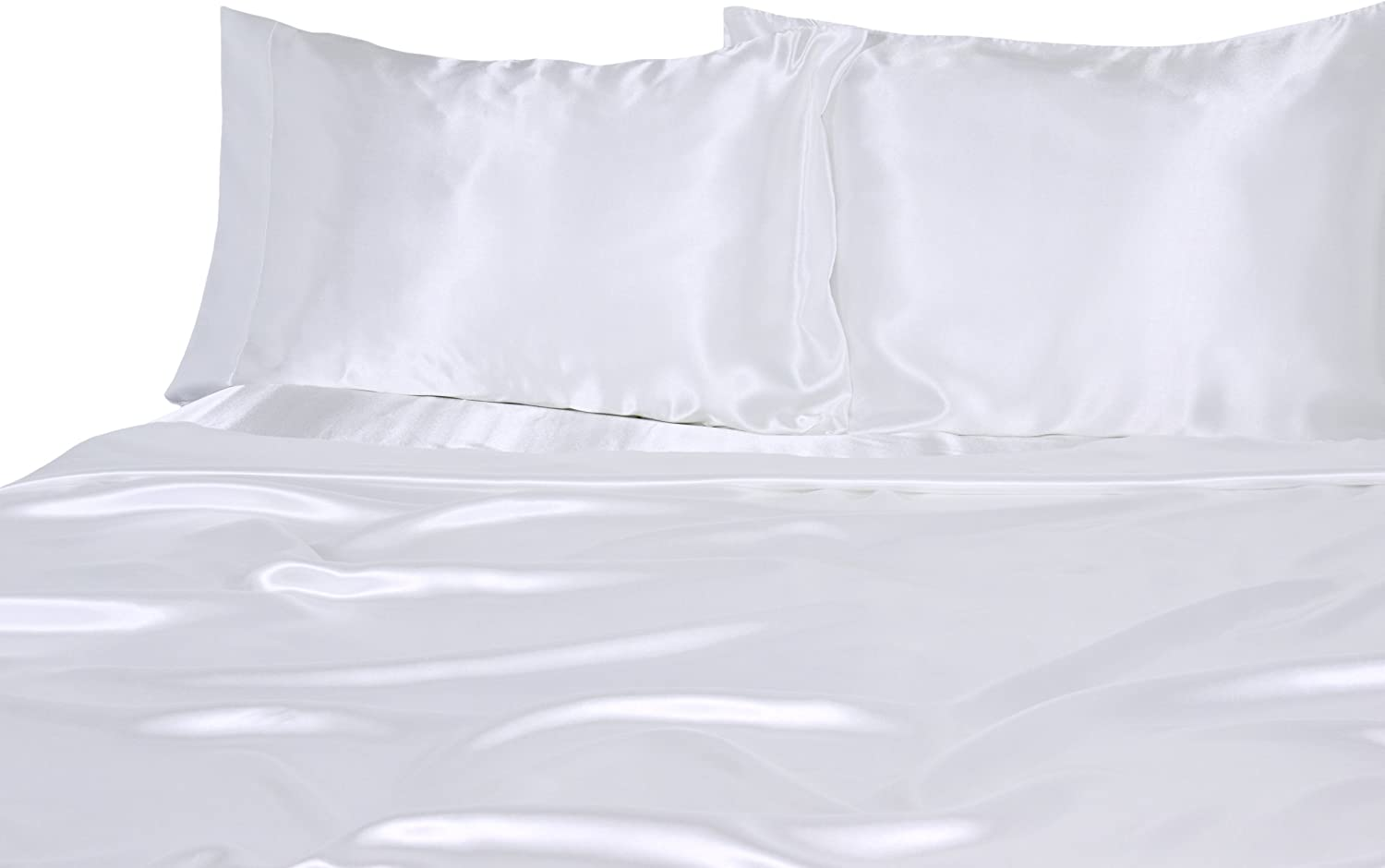 Elite Home Products 100% Luxury Satin Polyester Solid Sheet Set, Queen, White