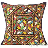 Eyes of India - 16'' Black Colorful Decorative Patchwork Sofa Throw Couch Pillow Cover Cushion Indian Bohemian BohoCover Only