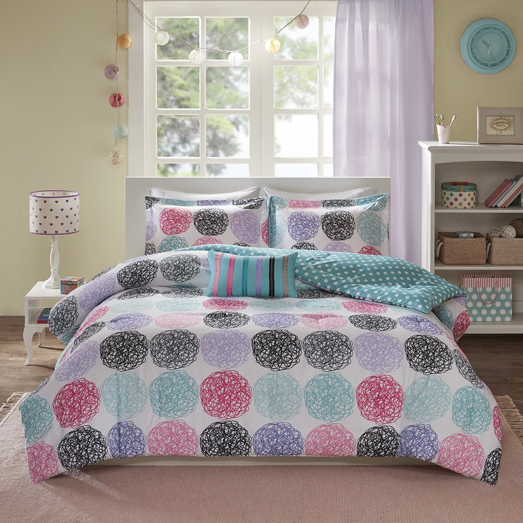 Mi-Zone Carly Reversible Comforter Set Full/Queen Size - Teal, Purple, Doodled Circles Polka Dots – 4Piece Bed Sets – Ultra Soft Microfiber Teen Bedding for Girls Bedroom