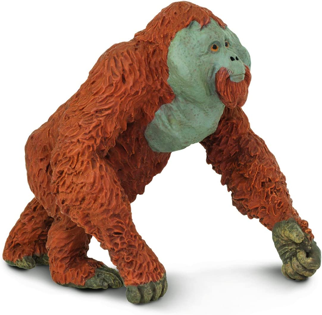 Safari Ltd. Wildlife – Male Orangutan – Realistic Hand Painted Toy Figurine Model – Quality Construction from Phthalate, Lead and BPA Free Materials – For Ages 3 and Up