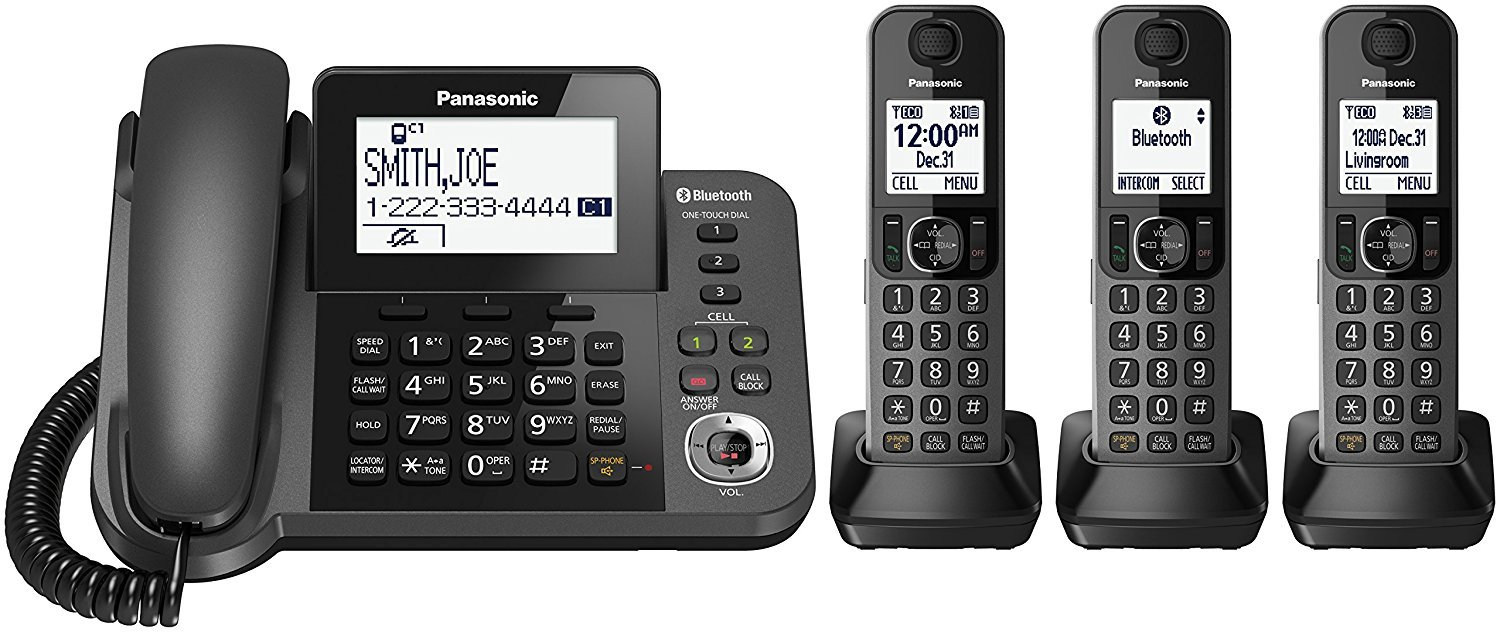 Panasonic KX-TGF383M Link2Cell Bluetooth Corded / Cordless Cordless Phone and Answering Machine with 3 Cordless Handsets (Certified Refurbished)