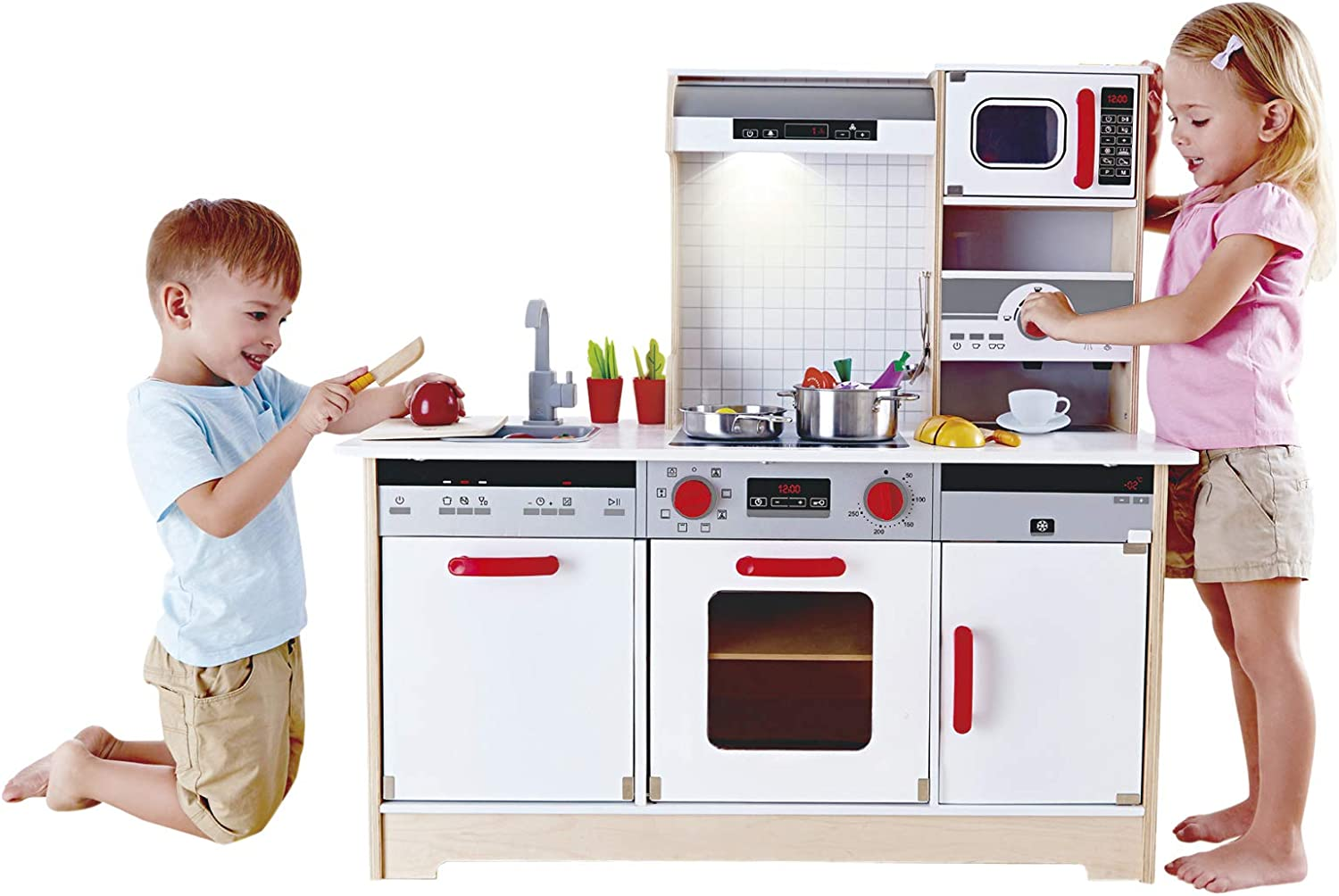 Hape Kids All-in-5 Wooden Play Kitchen with Accessories (E3545)