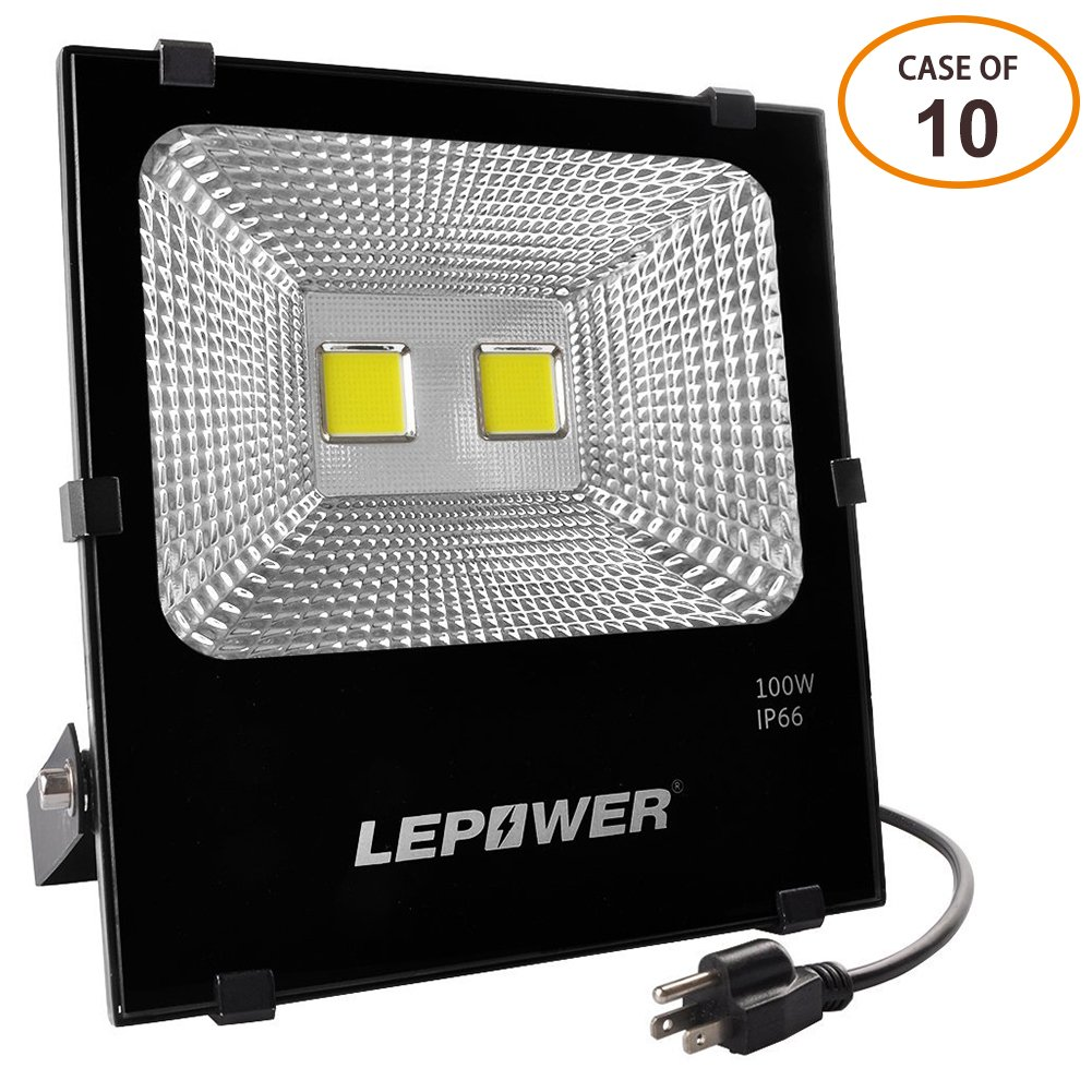 IP66 Waterproof 6500K 100W New Craft LED Flood Lights Lawn and Yard Outdoor Floodlight for Garage Garden Super Bright Work Lights LEPOWER LEP-FD100W-gen White Light 500W Halogen Bulb Equivalent 8000Lm