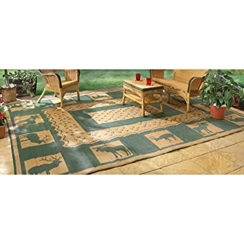 High Quality Guide Gear 6u0027 X 9u0027 Reversible Lodge Patio Mat Khaki / Hunter Green