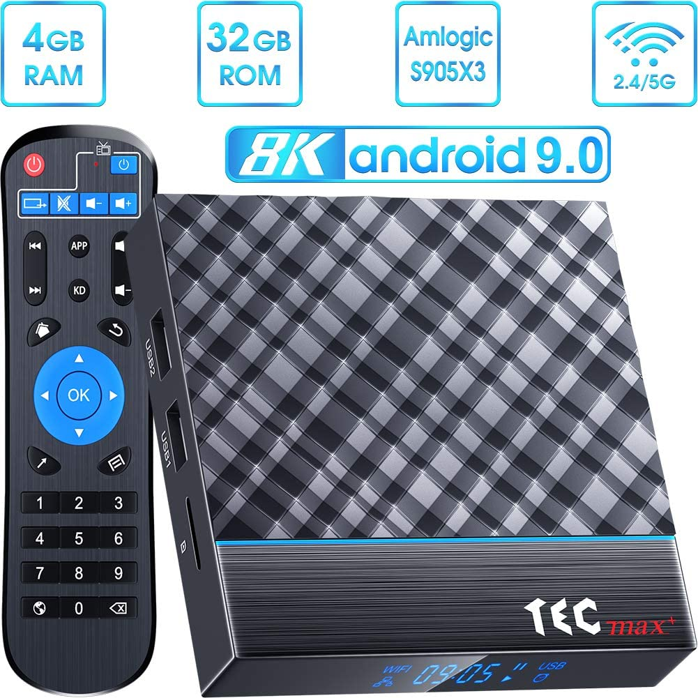 Android TV Box 9.0 4GB RAM 32GB ROM, TEC max+ Android TV Box Amlogic S905X3 Quad-Core 64bit with 3D 8K HD H.265, Dual-WiFi 2.4G/5G, USB 3.0 Smart TV Box