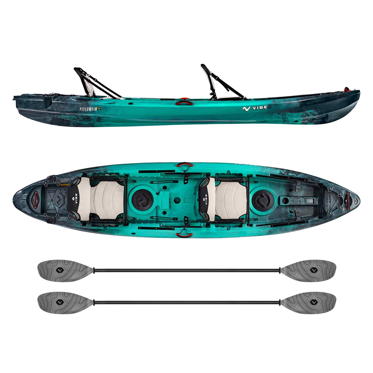Vibe Kayaks Yellowfin 130T | 13 Foot | Tandem Angler and Recreational Two Person Sit On Top Fishing Kayak with 2 Paddles and 2 Hero Comfort Seats (Caribbean Blue - Smoke Gray Evolve Paddle)