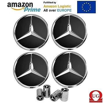 CAR PARTS 4 x Tapacubos Tapones de Recambio Coche con Logo DE 75 mm coppe Círculos Aleación - Clase A B C E CLK GL M ML SLK: Amazon.es: Coche y moto