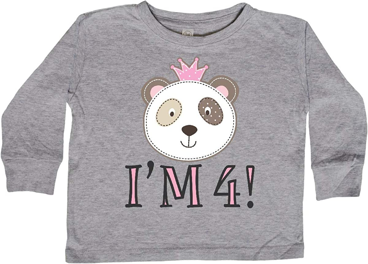 inktastic 4th Birthday Panda 4 Year Old Girl Toddler Long Sleeve T-Shirt