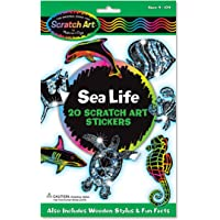 Melissa and Doug Scratch Magic Draw and Learn Stickers Sea Life, Multi Color