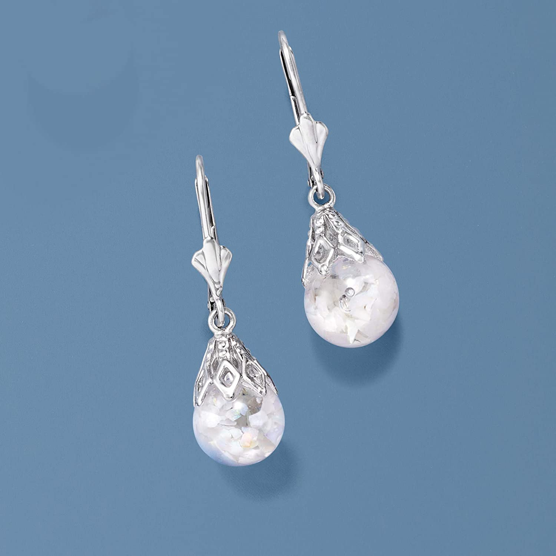 White Neutral Drop earrings Butterflies # 97. Dangly Opaline glass Light-weight