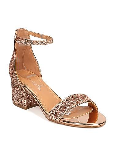 6dc540bf357 Betani Women Glitter Leatherette Open Toe Chunky Heel Ankle Strap Sandal  GC22