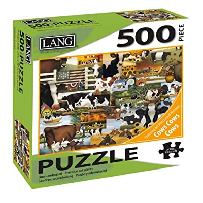 "Lang - 500 Piece Puzzle - Herrero\'s Cows, Artwork by Lowell Herrero - Linen Finish - 24"" x 18\"" Completed: Toys & Games [5Bkhe0500292]"