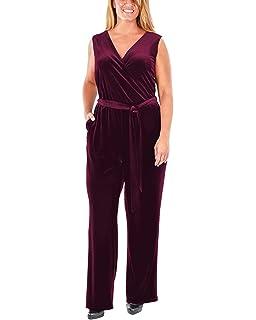97b6a455ea7 Amazon.com  NY Collection Women s Petite Sleeveless Faux Wrap Velvet ...