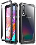 Poetic Guardian Series Case Designed for Samsung Galaxy A70 Case, Full-Body Hybrid Shockproof Bumper Cover with Built-in-Screen Protector, Black/Clear