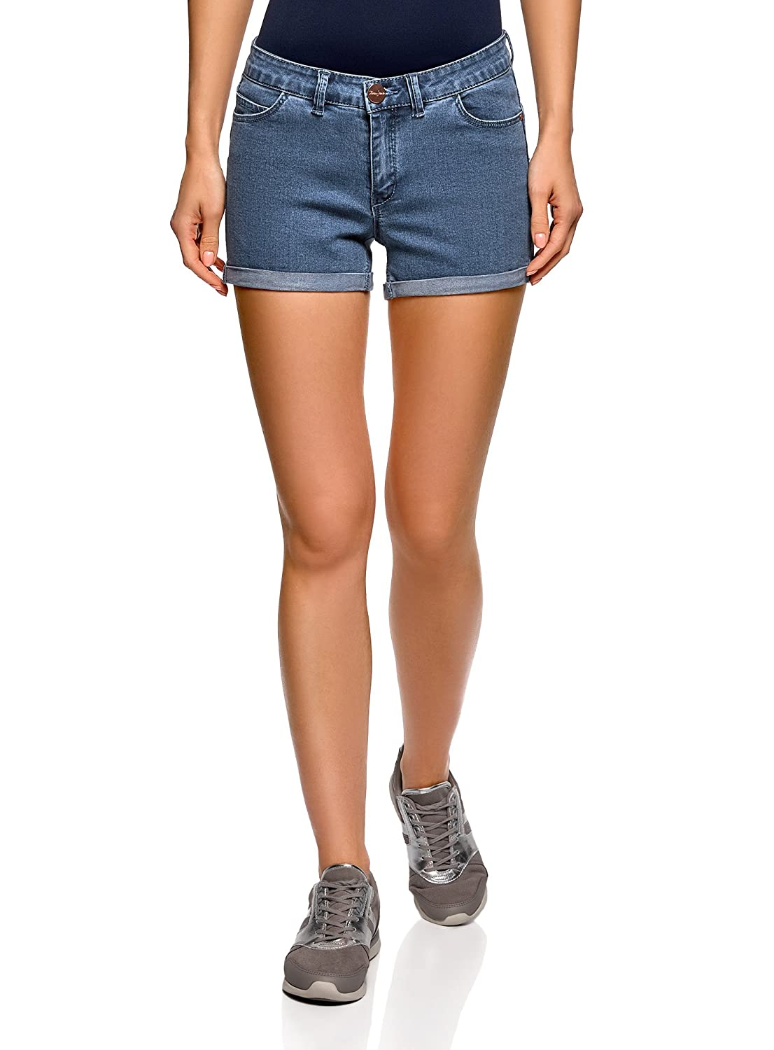 oodji Ultra Donna Shorts in Jeans Stretch con Risvolti RIFICZECH s.r.o. 12807082-1B