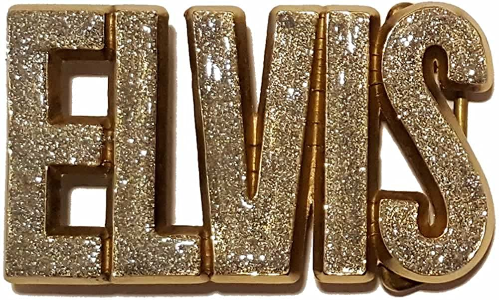 Elvis Letters Silver Glitter on Solid Brass Belt Buckle with display stand