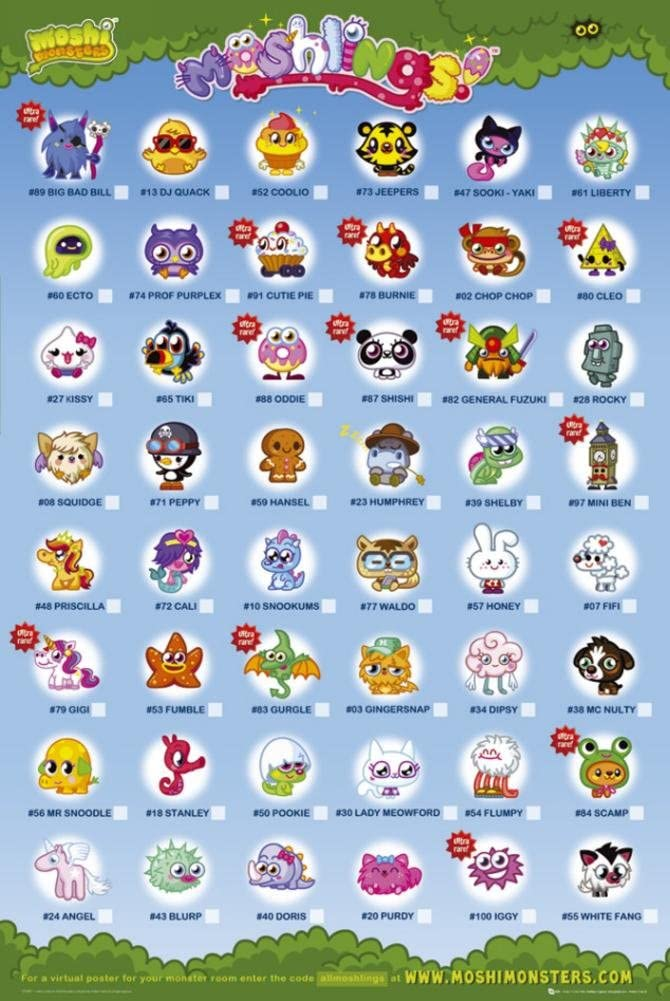 Moshi Monsters Poster Moshlings Characters And Names Amazon Co Uk Kitchen Home