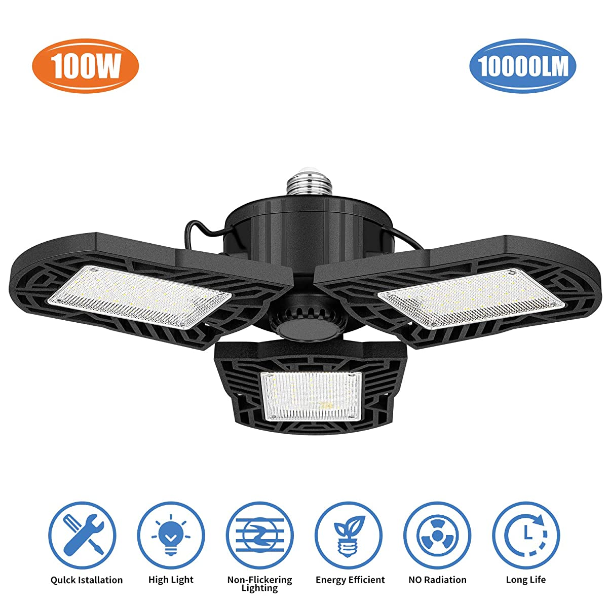 LED Garage Lights, 10000 Lumens Deformable Trilight Lighting