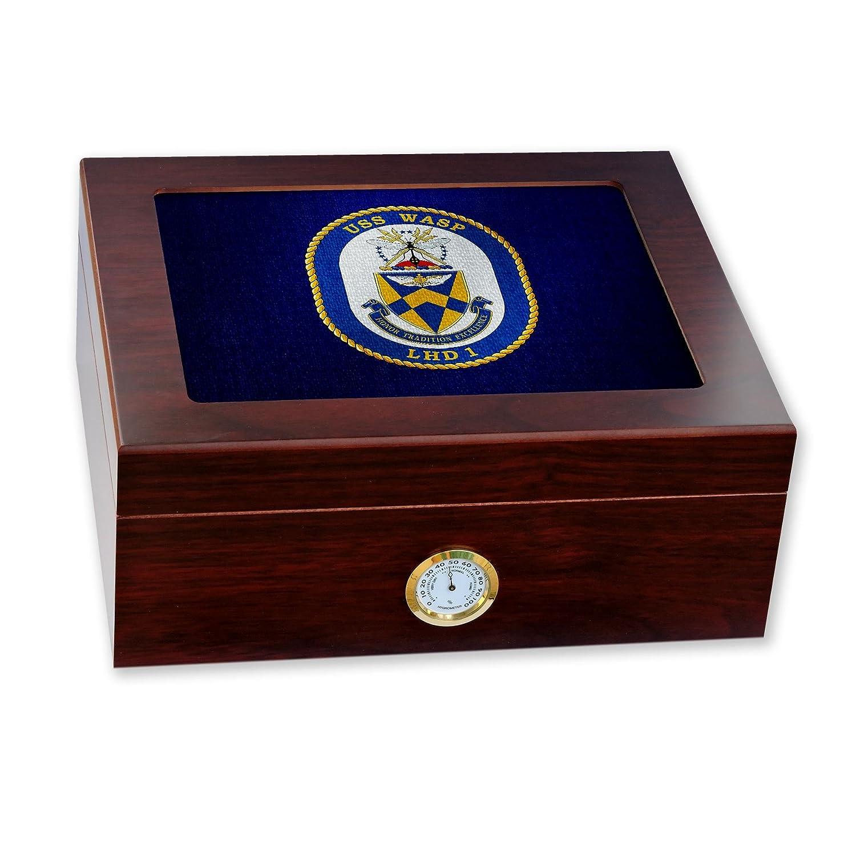 【破格値下げ】 プレミアムデスクトップHumidor ガラストップ – ガラストップ – 米国海軍USS Wasp Wasp 米国海軍USS (ワスプ)、水陸両用( Crest ) B06VTLPXPZ, ニイツルムラ:763fa0f9 --- a0267596.xsph.ru