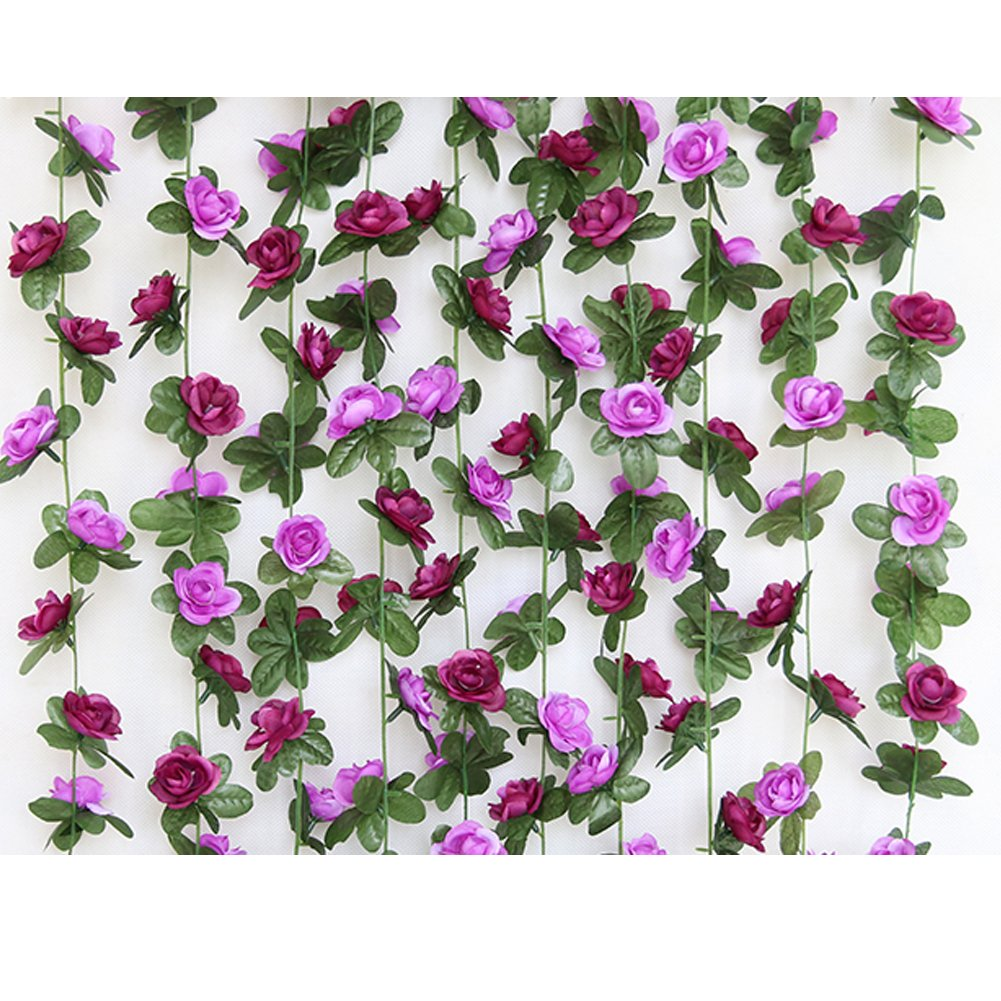 LAOZHOU 2PCS(16.4FT) Fake Rose Vine Garland Artificial Flowers Plants for Hotel Wedding Home Party Garden Craft Art Decor (Purple)