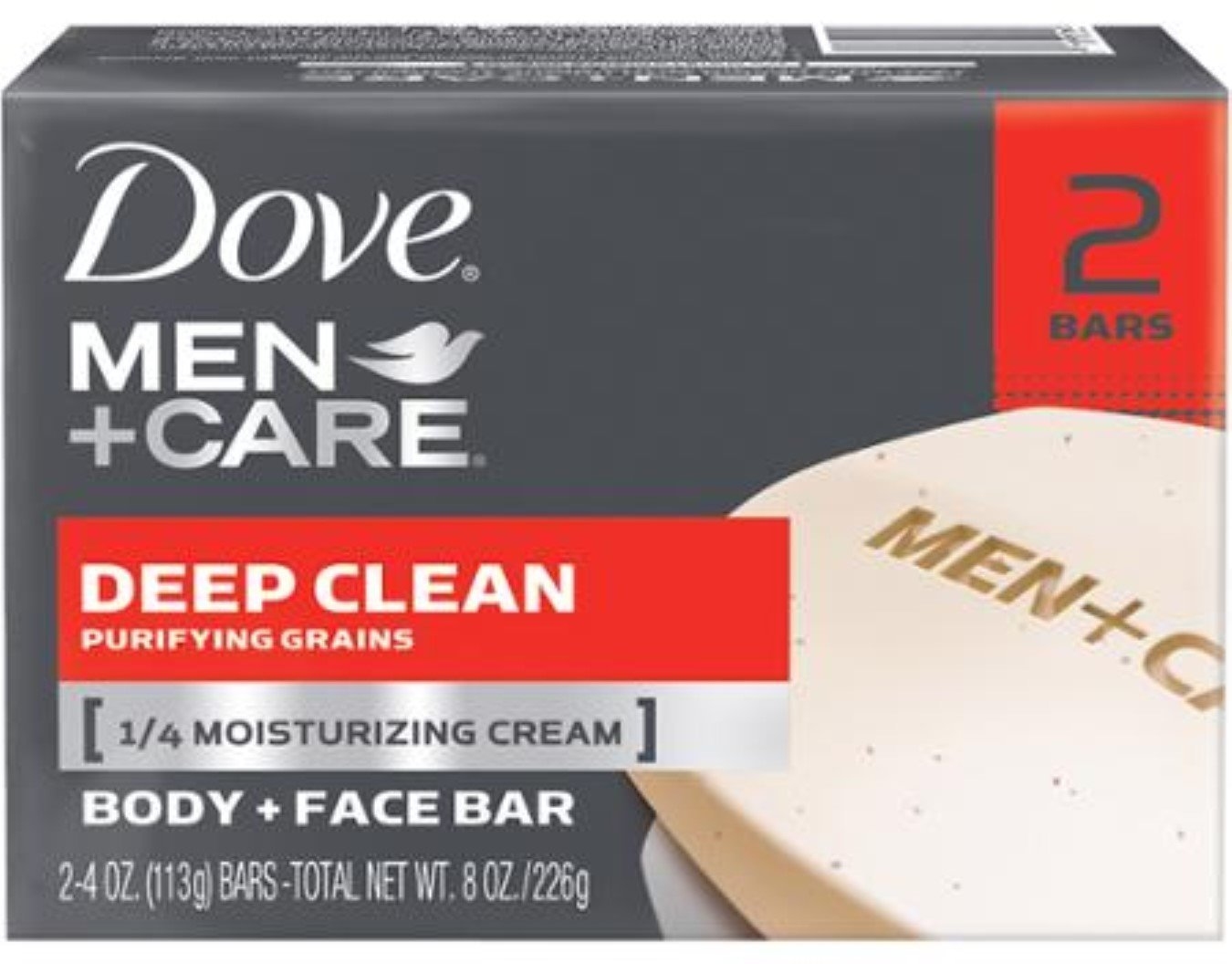 Dove Men+Care Body & Face Bar, Deep Clean 4.25 oz bars, 2 ea (2 Pack)