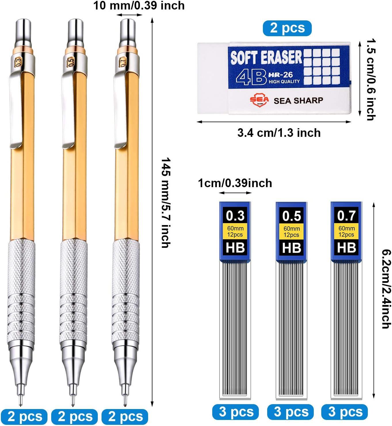6 Piezas L/ápices Mec/ánicos Met/álicos 0,3 mm Dibujar Dorado 0,5 mm y 0,7 mm Portaminas Mec/ánicos de Escritura 9 Tubos Mina de L/ápiz HB y 2 Piezas Borradores para Escritura Bosquejo