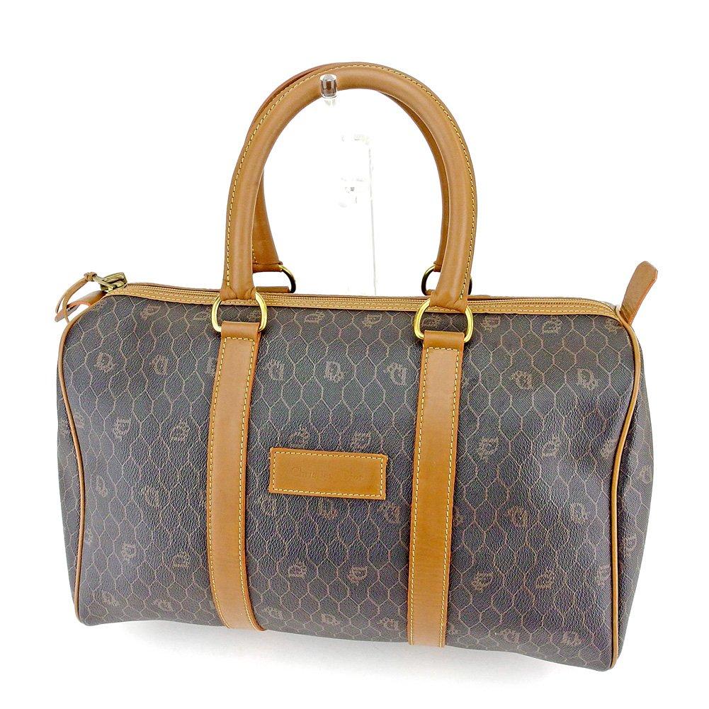 (ディオール) Christian Dior ボストンバッグ ハンドバッグ 旅行用バッグ ライトブラウン ブラック オールドディオール メンズ可 中古 T6619 B07B9X8TCM