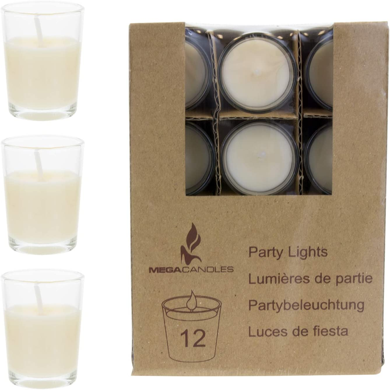 Baby Showers Wedding Receptions Celebrations Mega Candles 12 pcs Unscented Red Glass Container Candle Mini Party Light 5 Hours 1.5 Inch x 1.75 Inch Birthdays Party Favors /& More Home D/écor