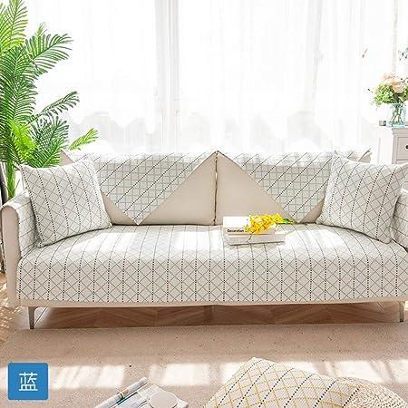 RSdfjLfjd Doble-Cara Cubierta De Couch,Tejido De Algodón Cubre Sofá,para Perros Gatos Apoyabrazos Cubierta del Respaldo Protector para Sofás Vendido por 1 Pieza Azul 70x180cm(28x71inch): Amazon.es: Hogar