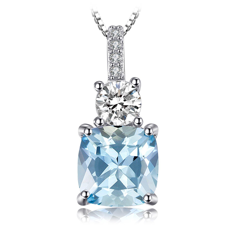JewelryPalace 2.2ct Kissen-Cut Original Himmel Blau Topas Halskette aus 925er Sterlingsilber 18 Zoll EU-AP752405N18