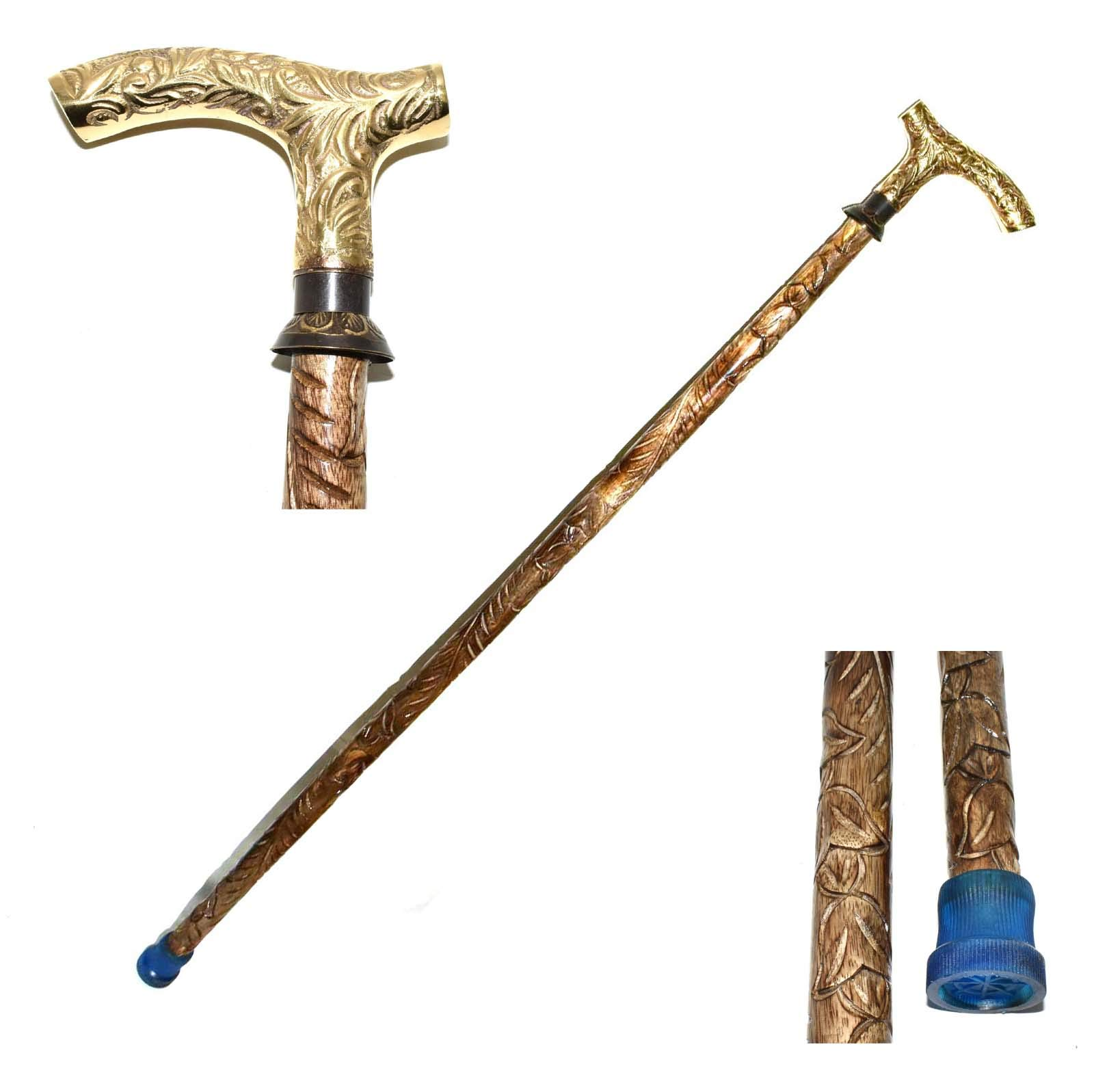 Nautical World Wood Walking Stick with T Shape Brass Handle, Walking Cane, Affordable Gift Decorative Walking Cane Fashion Statement for Men/Women/Seniors/Grandparents! Item New Year Gifts, Gifts for