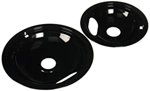 Range Kleen P10124XN, Black, Style A Porcelain Drip Pans Set of 4, 2 6 Inch and 2 8 Inch