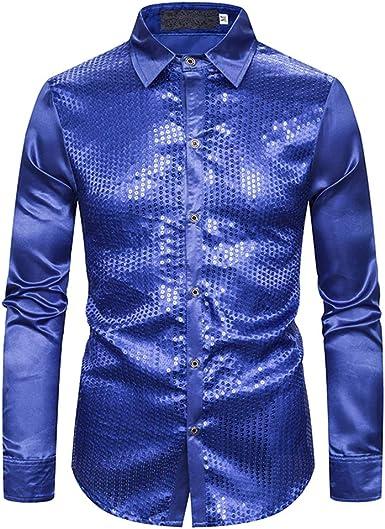 Camisa de Manga Larga con Solapa y Botones de Lentejuelas de Color sólido Brillante para Hombres: Amazon.es: Ropa y accesorios