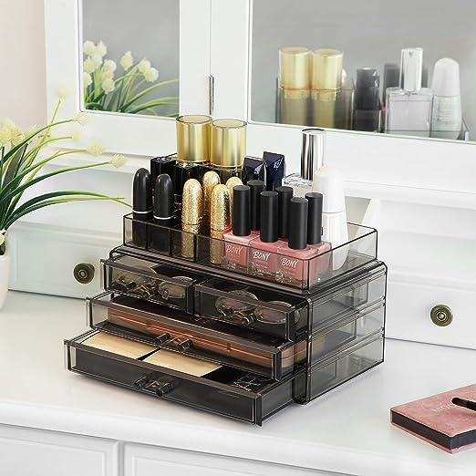 SONGMICS Organizador de Maquillaje, Estuche de Cosméticos con 4 Cajones y 11 Compartimentos de Diferentes Tamaños, Alfombrillas Antideslizantes, Gris ...