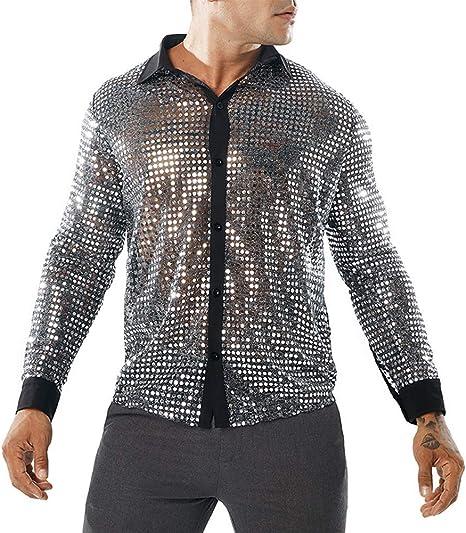 Hahad Camisa Sexy de diseño con Botones para Hombres, Camisa de Manga Larga Redonda de Malla de Punto Largo, Camisa de Solapa con Chaleco Club Party,Silver,L: Amazon.es: Deportes y aire libre