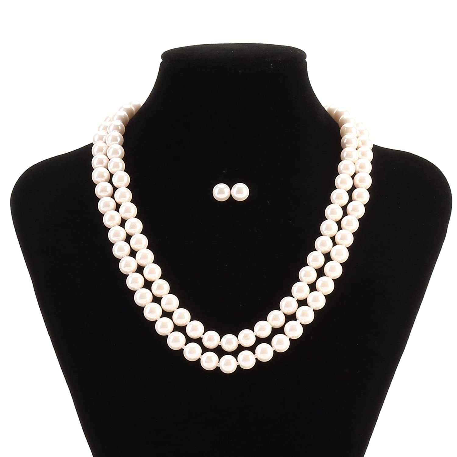 LEILE Hand Knotted Glass Imitation Pearls Necklace Bead diameter 8mm Length 18 59 inch BLDJ001