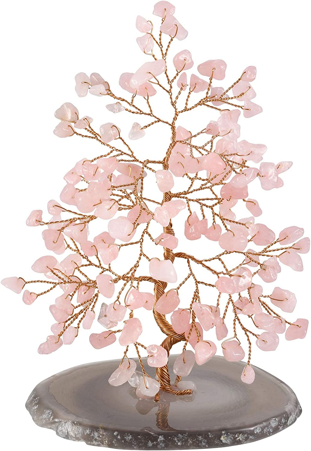 """Jovivi Natural Pink Crystal Rose Quartz Money Tree Tumbled Gemstones 5.5""""-6.3"""", Geode Agate Slices Base Feng Shui Ornaments Home Living Room Table Office Decoration for Wealth and Luck"""