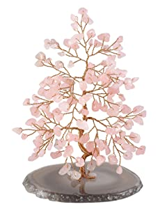 "CrystalTears Natural Rose Quartz Crystal Bonsai Money Tree w/Agate Slice Base Figurine for Wealth Good Luck Spiritual Gift Home Decor 5.5""-6.3"""