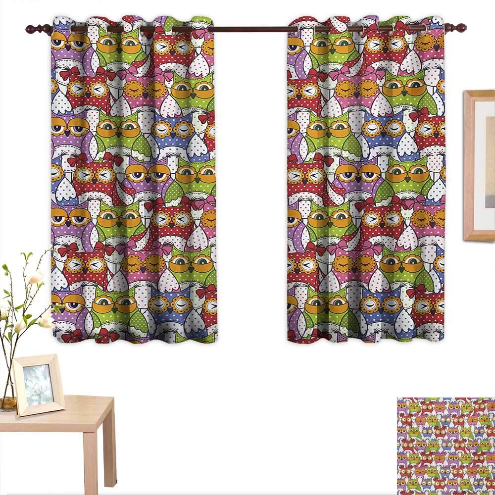 Superlucky Owl Customized Curtains Ornate Owl Crowd with Different Sights and Polka Dots Like Matryoshka Dolls Fun Retro Theme 55''x 39'',Suitable for Bedroom Living Room Study, etc. by Superlucky