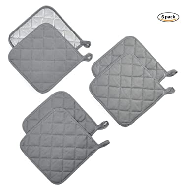 Jennice House Potholders Kit Trivets Kitchen Pot Holders Set Heat Resistant Pure Cotton Large Coasters Hot Pads Pot Holders Set of 6 for Everyday Cooking and Baking by 7 x 7 inch (Gray)