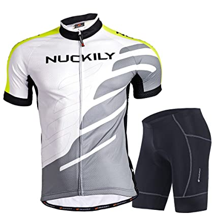 fdf6ed6f2 NUCKILY Men s Road Bike Cycling Wear Short Sleeve Cycling Jersey and Gel  Pad Shorts Summer Small