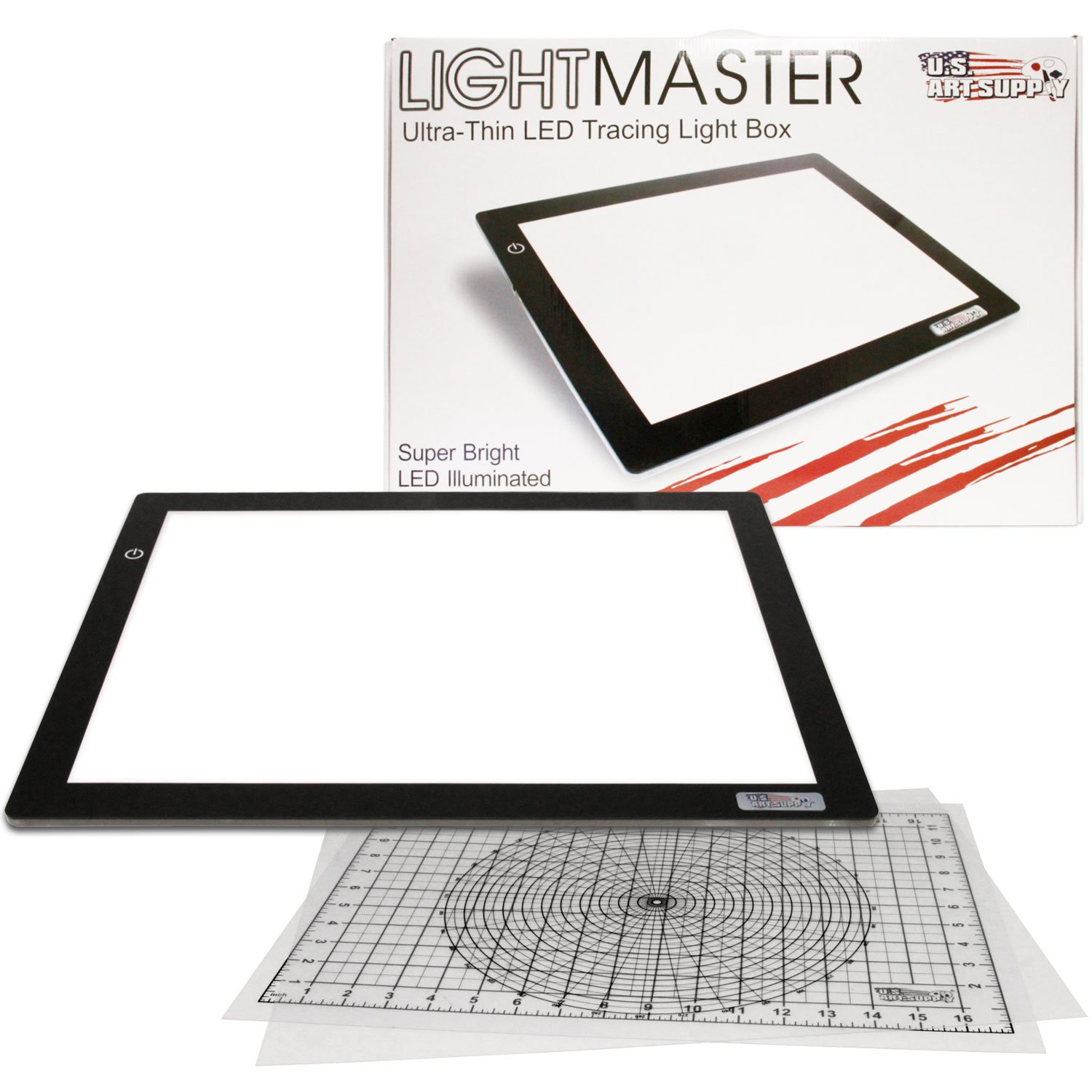 US ART SUPPLY Lightmaster Large 24.3'' Diagonal Professional (A3) 12''x17'' LED Lightbox Board- 12-Volt Super-Bright Ultra-Thin 3/8'' Profile Light Box Pad with 110V AC Power Adapter & Dimmable LED Lamps. Now Includes for FREE: 1 Measuring Overlay Grid & 1 Ci