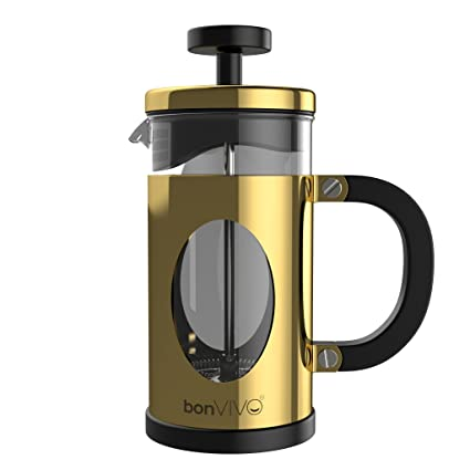 Bonvivo Gazetaro I French Press Coffee Maker Stainless Steel Cafetiere With Glass Jug Coffee Plunger With Filter Manual Coffee Maker With Gold