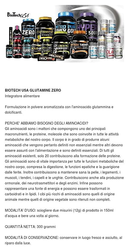 BiotechUSA Glutamina Zero 300 g Blue grape: Amazon.es ...