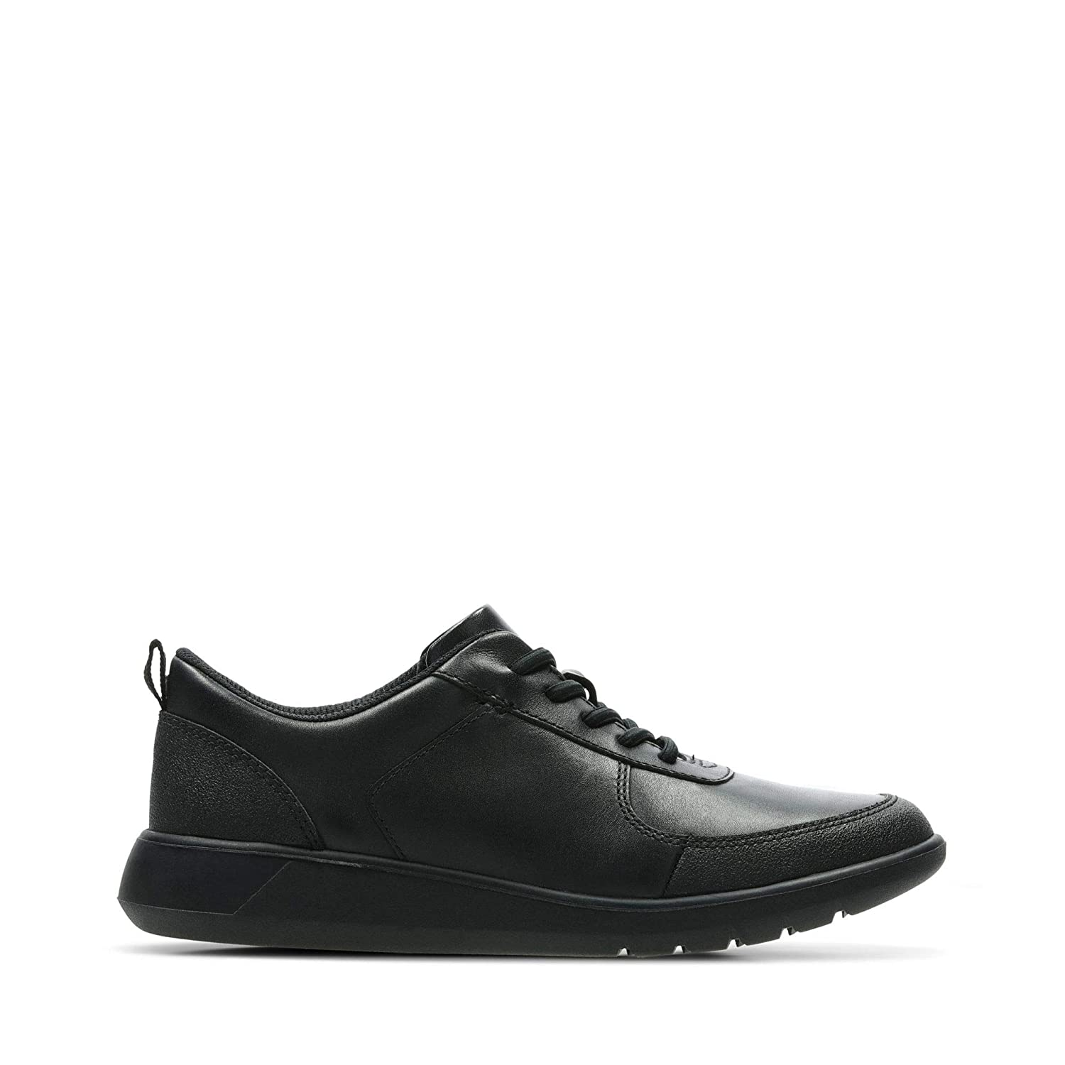 Clarks Scape Street Kid Leather Shoes in Black