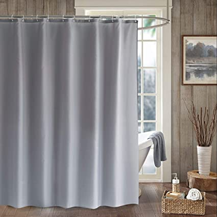 LanMeng Solid Fabric Shower Curtain Liner Extra Long Mildew Free Water Repellent