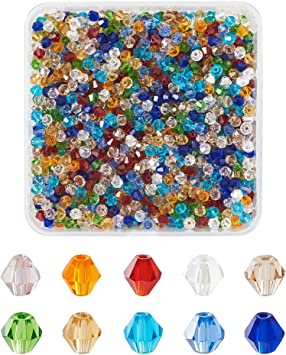 Box Displays 100pcs 4mm Amber Crackle Glass BICONE Shape Spacer Beads Jewelry Making Craft DIY Handmade Spacer Bicone Glass Fashion Design Jewellery Beads